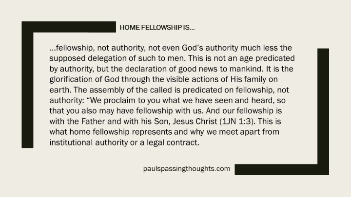 Home Fellowship is...