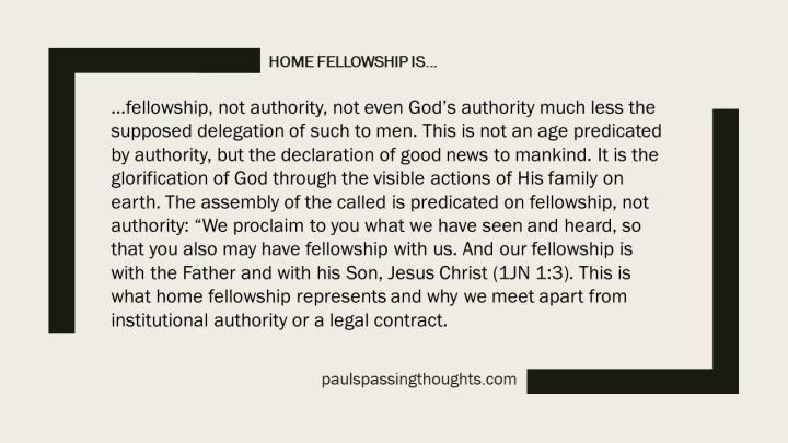 Home Fellowship is...