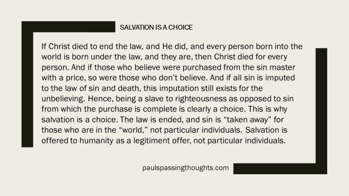 Salvation is a Choice